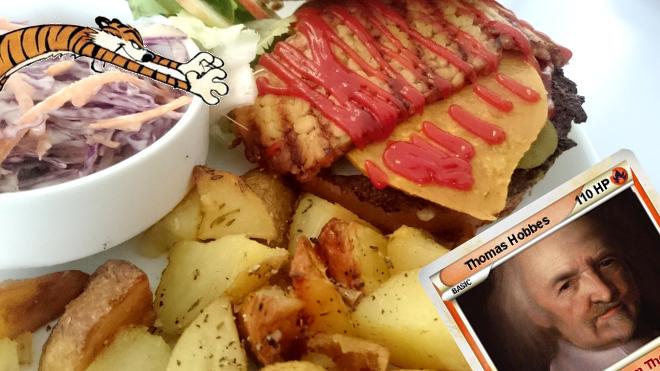 """hobbes de calvin & hobbes fonçant sur un burger, avec une carte magic """"thomas hobbes"""" dans l'angle en bas à droite"""