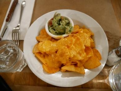 nachos au cheddar, vue de haut