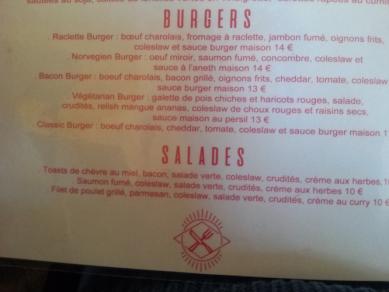 carte burger du caminito